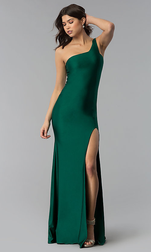 Green One Shoulder Prom Dress