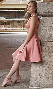 Image of high-neck short homecoming dress by Dave and Johnny. Style: DJ-A3645 Front Image