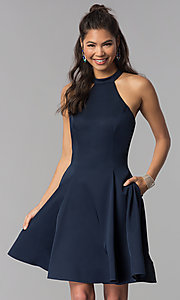 Image of high-neck short homecoming dress by Dave and Johnny. Style: DJ-A3645 Detail Image 2