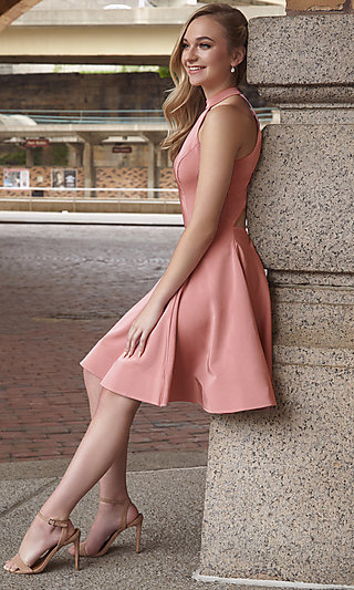 High-Neck Short Homecoming Dress by Dave and Johnny