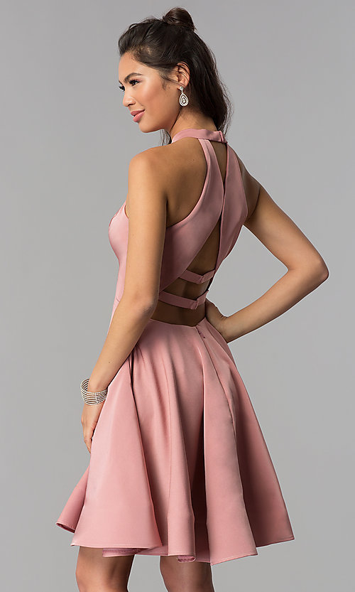 Image of high-neck short homecoming dress by Dave and Johnny. Style: DJ-A3645 Back Image