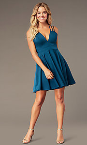 Image of short teal homecoming dress with triple straps. Style: DJ-A3644 Detail Image 2