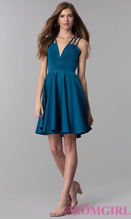 Image of short teal homecoming dress with triple straps. Style: DJ-A3644 Detail Image 3