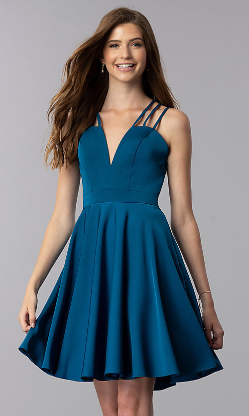 Image of short teal homecoming dress with triple straps. Style: DJ-A3644 Front Image