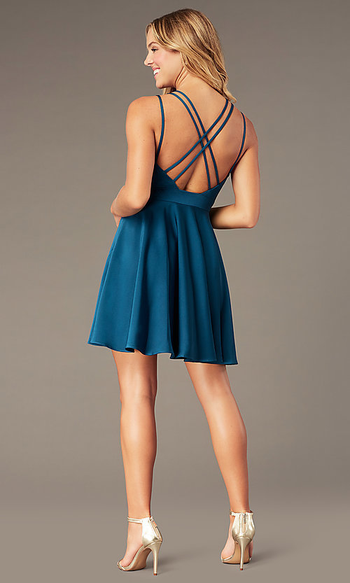 Image of short teal homecoming dress with triple straps. Style: DJ-A3644 Back Image
