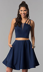 Image of two-piece multi-strap homecoming dress with pockets. Style: DJ-A3755 Front Image
