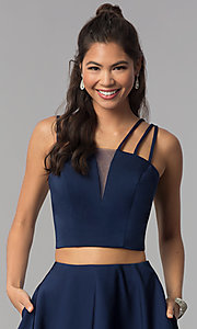 Image of two-piece multi-strap homecoming dress with pockets. Style: DJ-A3755 Detail Image 1