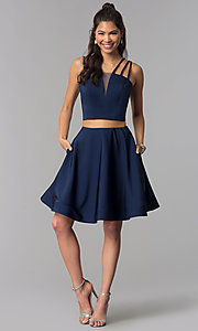 Image of two-piece multi-strap homecoming dress with pockets. Style: DJ-A3755 Detail Image 2