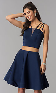 Image of two-piece multi-strap homecoming dress with pockets. Style: DJ-A3755 Detail Image 3