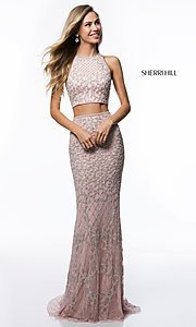 Long Beaded Two-Piece Prom Dress