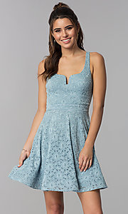 Image of short blue lace square-neck wedding guest dress. Style: MY-5167QJ1C Front Image