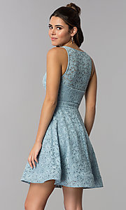 Image of short blue lace square-neck wedding guest dress. Style: MY-5167QJ1C Back Image