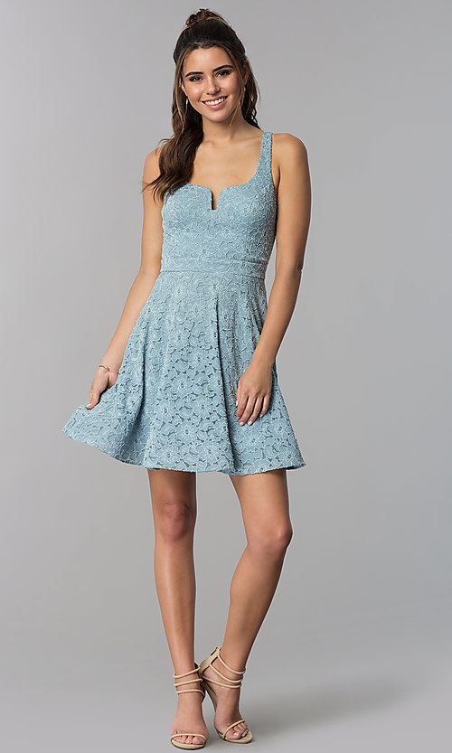Image of short blue lace square-neck wedding guest dress. Style: MY-5167QJ1C Detail Image 3