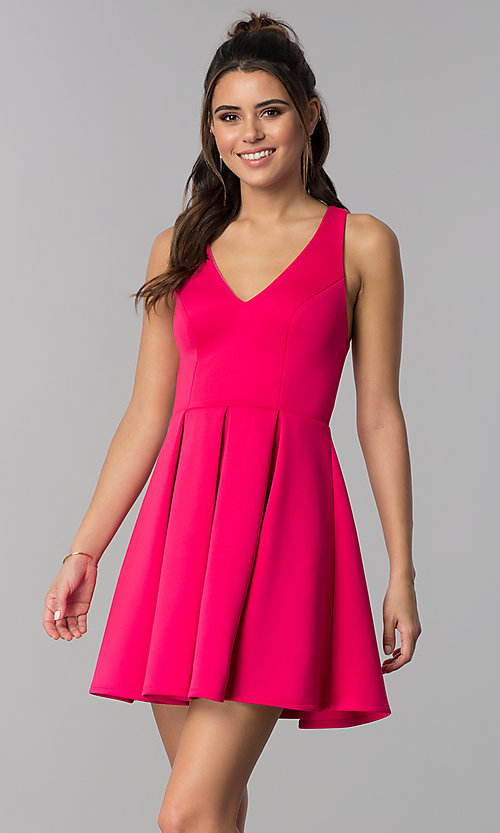527eb9c6eab Image of hot pink short semi-formal v-neck party dress. Style