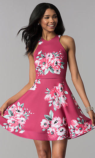 Malbec Pink Short Floral-Print Party Dress