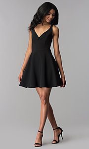 Image of a-line short v-neck party dress. Style: JU-10757 Detail Image 2