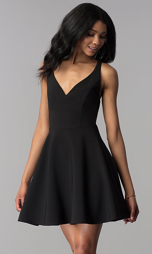 Image of a-line short v-neck party dress. Style: JU-10757 Front Image