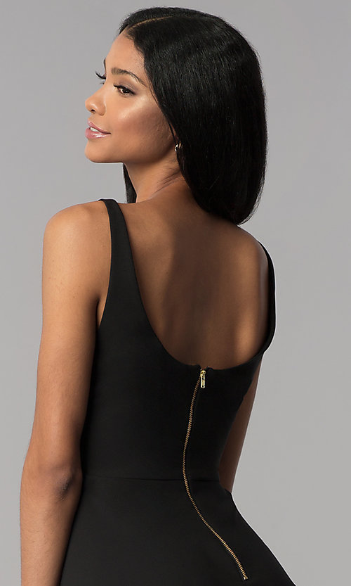 Image of a-line short v-neck party dress. Style: JU-10757 Back Image