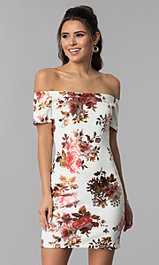 Image of short floral-print sheath off-shoulder party dress. Style: JU-10829 Detail Image 1