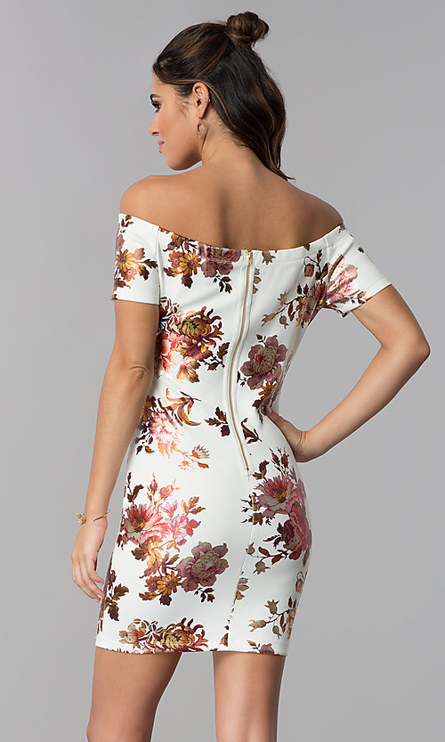 Image of short floral-print sheath off-shoulder party dress. Style: JU-10829 Back Image