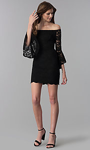 Image of glitter short lace off-the-shoulder party dress. Style: JU-10803 Detail Image 2