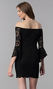 Image of glitter short lace off-the-shoulder party dress. Style: JU-10803 Back Image