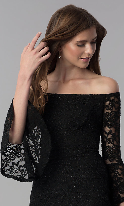 Image of glitter short lace off-the-shoulder party dress. Style: JU-10803 Detail Image 1