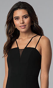 Image of multi-strap faux-wrap black short party dress. Style: CT-7711HG7AT3 Detail Image 1
