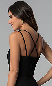 Image of multi-strap faux-wrap black short party dress. Style: CT-7711HG7AT3 Detail Image 2