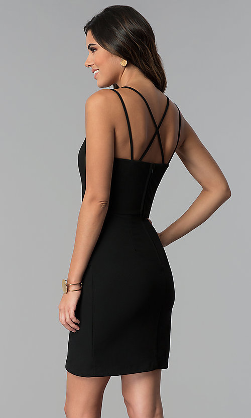 Image of multi-strap faux-wrap black short party dress. Style: CT-7711HG7AT3 Back Image
