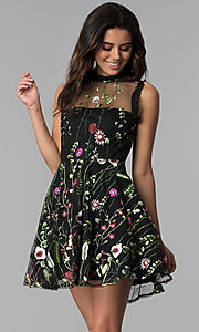 Image of high-neck embroidered-mesh short party dress. Style: CT-8380AY5AT3 Front Image