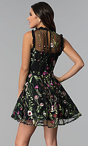 Image of high-neck embroidered-mesh short party dress. Style: CT-8380AY5AT3 Back Image