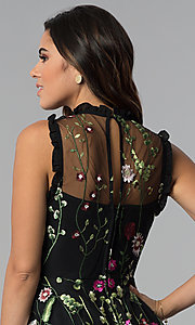 Image of high-neck embroidered-mesh short party dress. Style: CT-8380AY5AT3 Detail Image 2