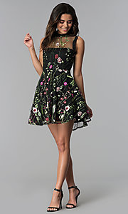 Image of high-neck embroidered-mesh short party dress. Style: CT-8380AY5AT3 Detail Image 3