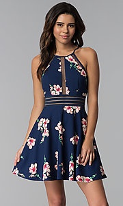 Image of short floral-print wedding guest navy party dress. Style: CT-7689JD6DT1 Front Image