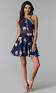 Image of short floral-print wedding guest navy party dress. Style: CT-7689JD6DT1 Detail Image 2