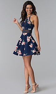Image of short floral-print wedding guest navy party dress. Style: CT-7689JD6DT1 Detail Image 3