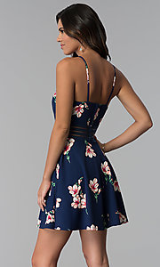 Image of short floral-print wedding guest navy party dress. Style: CT-7689JD6DT1 Back Image