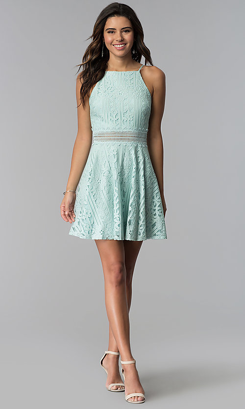Image of short aqua green high-neck lace party dress. Style: CT-3412KC2DT1 Detail Image 3