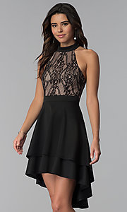 Image of high-low black lace-bodice party dress. Style: CT-3253HA2BT3 Front Image