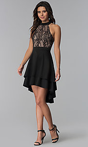 Image of high-low black lace-bodice party dress. Style: CT-3253HA2BT3 Detail Image 3