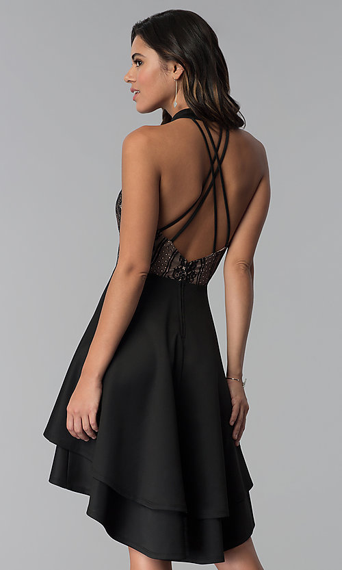 Image of high-low black lace-bodice party dress. Style: CT-3253HA2BT3 Back Image
