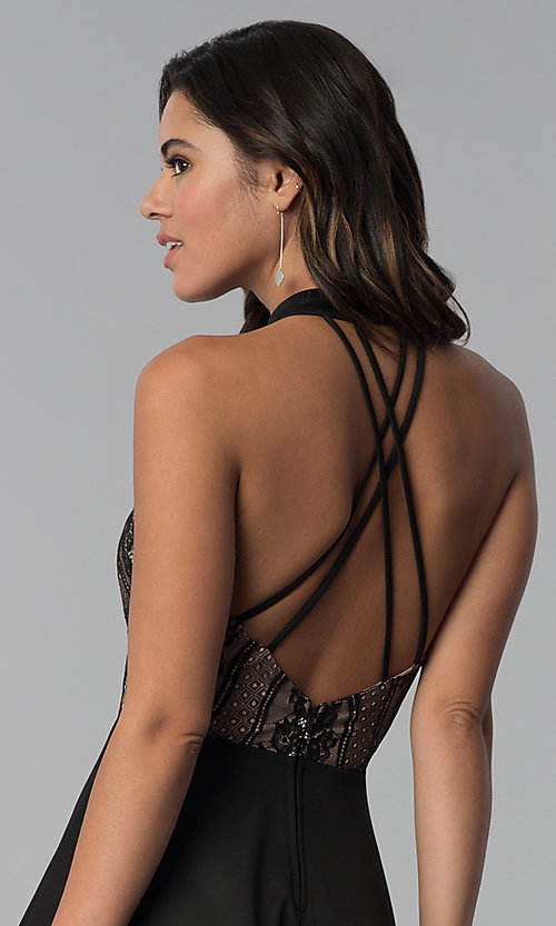 Image of high-low black lace-bodice party dress. Style: CT-3253HA2BT3 Detail Image 2