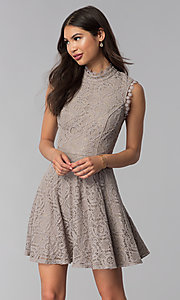 Image of fit-and-flare short lace party dress in taupe. Style: CT-3096PV9B Front Image
