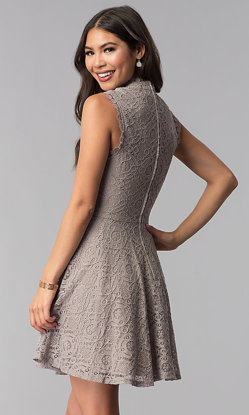 Image of fit-and-flare short lace party dress in taupe. Style: CT-3096PV9B Back Image