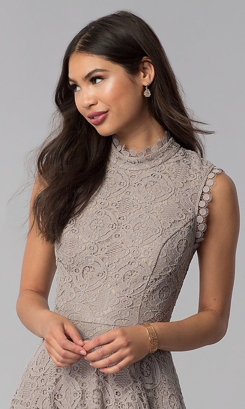 Image of fit-and-flare short lace party dress in taupe. Style: CT-3096PV9B Detail Image 1