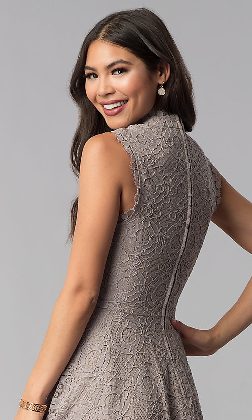 Image of fit-and-flare short lace party dress in taupe. Style: CT-3096PV9B Detail Image 2