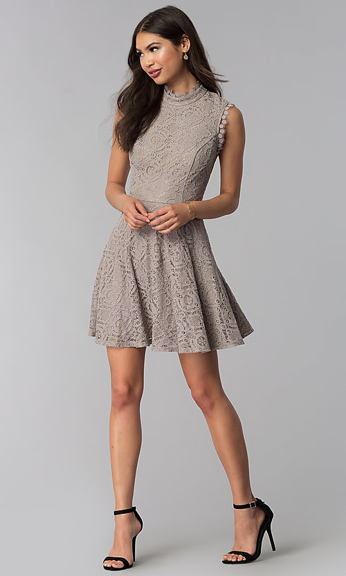 Image of fit-and-flare short lace party dress in taupe. Style: CT-3096PV9B Detail Image 3