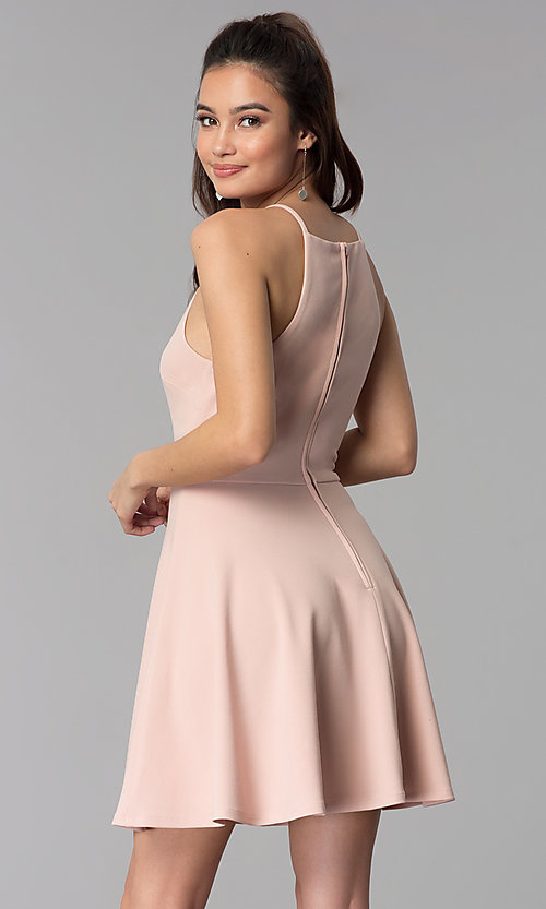 Image of a-line short wedding guest party dress. Style: CT-7711NR7CT1 Back Image