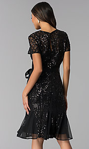 Image of short-sleeve sequin knee-length party dress. Style: MO-3531 Back Image